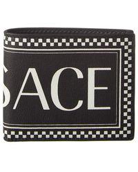 Versace Logo Leather Bifold Wallet - Black