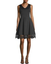 Donna Ricco - Scuba Fit-and-flare Dress - Lyst