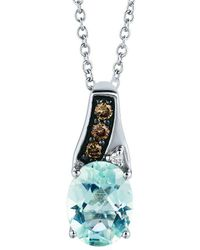 Le Vian ? Chocolatier? 14k Vanilla Gold? 1.06 Ct. Tw. Diamond & Aquamarine Pendant - Blue