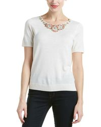 Magaschoni Silk & Cashmere Blend Beaded Neck Shell - White