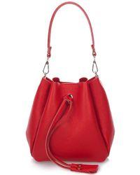 Giorgio Costa Leather Bucket Bag - Red
