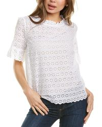 Brooks Brothers Bell-sleeve Eyelet Top - White