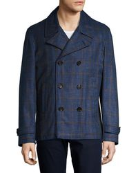 Isaia - Wool Windowpane Double Breasted Peacoat - Lyst