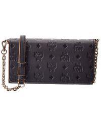 MCM Monogram Leather Wallet On Chain - Black