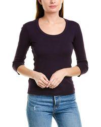 Three Dots Scoop 3/4-length T-shirt - Purple