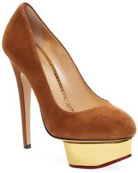 Charlotte Olympia - Woman Dolly Suede Platform Pumps Light Brown Size 37 - Lyst