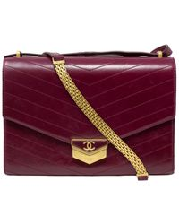 Chanel Limited Edition Burgundy Quilted Aged Calfskin Leather 2018 Paris-hamburg Chevron Medal Large Flap Bag - Purple