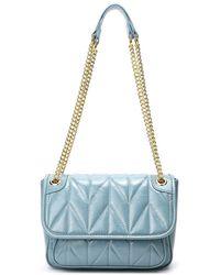 Tiffany & Fred Quilted Sheepskin Shoulder Bag - Blue