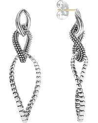Lagos Signature Caviar Silver Dangle Earrings - Metallic