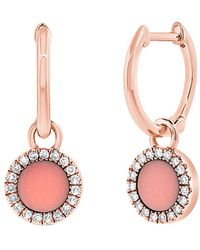 Sabrina Designs - 14k Rose Gold 0.12 Ct. Tw. Diamond & Mother-of-pearl Earrings - Lyst