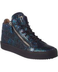 Giuseppe Zanotti - Snake Embossed Leather Sneaker - Lyst