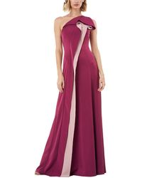 Kay Unger One Shoulder Solid Gown - Purple