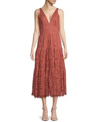 Dress the Population Madelyn Plunging Lace Midi Dress - Red