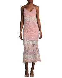 ABS By Allen Schwartz Lace Midi Slip Dress - Pink
