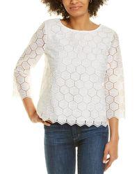 Anne Klein Hexagonal Lace Blouse - White