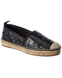 Fendi Ff Leather Espadrille - Black