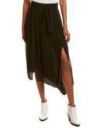 7 For All Mankind 7 For All Mankind Double Slit Midi Skirt - Black