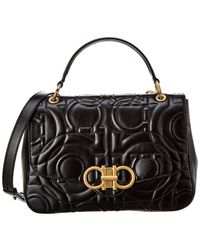 Ferragamo Gancini Quilted Leather Top Handle Bag - Black