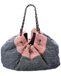 Chanel - Limited Edition Navy Quilted Denim Coco Cabas - Lyst