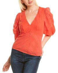 Rebecca Taylor Stripe V-neck Top - Red