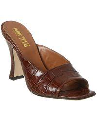Paris Texas Croc-embossed Leather Sandal - Brown