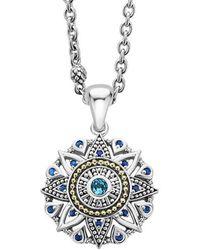 Lagos Wanderlust 18k & Silver Swiss Blue Topaz Necklace - Multicolour