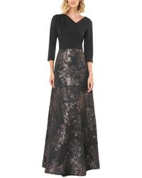 Kay Unger 3/4- Sleeve Printed Gown - Multicolour