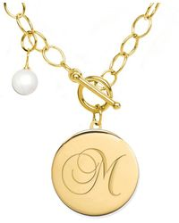 Jane Basch 22k Over Silver 6-8mm Pearl A-z Initial Toggle Necklace (a-z) - Metallic