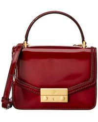 Tory Burch Juliette Mini Leather Top Handle Satchel - Red