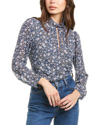 1.STATE Chateau Floral Keyhole Top - Blue