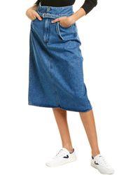 Rag & Bone High-waisted Denim Skirt Light Blue