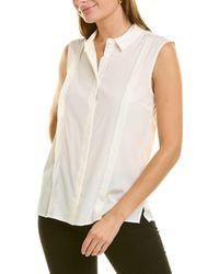 Peserico Pleated Silk-blend Blouse - White