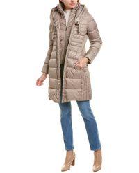 Tahari Casey Long Puffer Coat - Natural