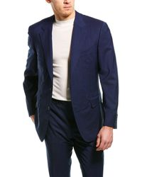 Canali 2pc Wool Suit With Flat Front Pant - Blue