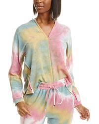 Ariella Tie-dye V-neck Sweatshirt - Pink