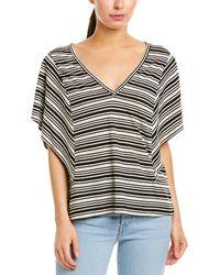 BCBGMAXAZRIA Striped Flutter Sleeve Linen Blend Top - Black