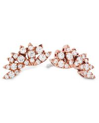 Hearts On Fire 18k Rose Gold 0.32 Ct. Tw. Diamond White Kites Feathers Earrings - Pink