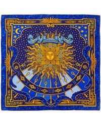 """Hermès """"carpe Diem,"""" By Joachim Metz Silk Scarf - Blue"""
