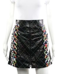 Chanel Black Leather A-line Skirt, Size Us 34