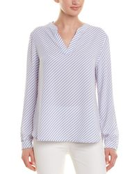 Anne Klein Piazza Stripe Split Neck Blouse - Blue