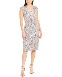 Tahari Petite Cap Sleeve Sequin Stretch Lace Side Draped Dress - Metallic