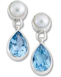 Samuel B. Silver 3.25 Ct. Tw. Blue Topaz 5mm Pearl Drop Earrings