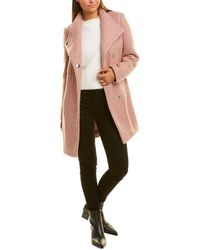 Kenneth Cole Boucle Wool-blend Coat - Pink