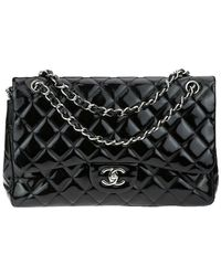 Chanel - Classic Black Quilted Patent Jumbo Double Flap Bag - Lyst