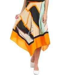 Diane von Furstenberg Madeline Silk Crepe De Chine Asymmetrical Skirt - Orange