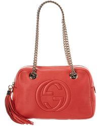 Gucci Pink Leather Chain Soho Shoulder Bag - Red