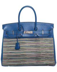 ab5d5d21091 Hermès - Blue Leather Vibrato Birkin 35cm Phw - Lyst