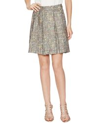 Trina Turk Laney Tweed Pleated Skirt - Gray