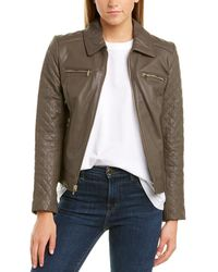 Cole Haan Quilted Leather Jacket - Brown