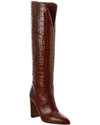 Paris Texas Croc-embossed Leather Boot - Brown